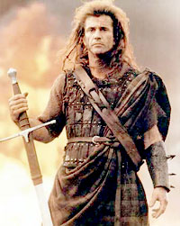 Mel Gibson as William Wallace, in Braveheart